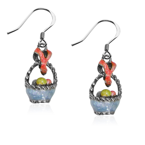 Easter Basket Charm Earrings in Silver