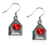 Love Letter Charm Earrings in Silver