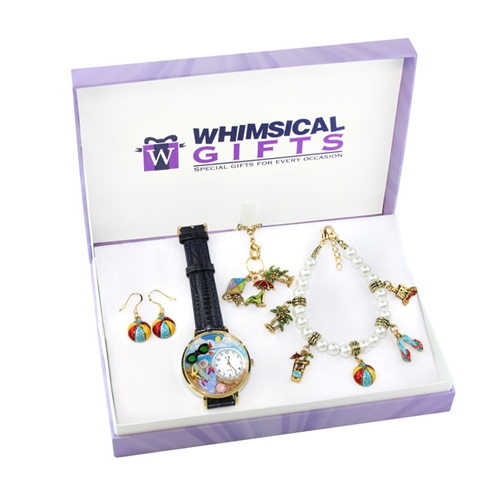 Whimsical Gifts Summer Fun in the Sun Gold 4-piece Watch-Bracelet-Necklace-Earrings Jewelry Set