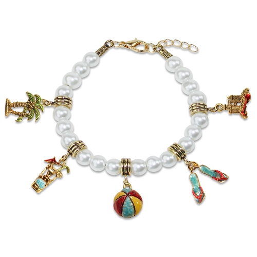 Summer Fun in the Sun Charm Bracelet in Gold