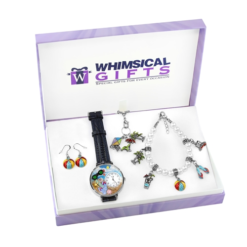 Whimsical Gifts Summer Fun in the Sun Silver 4-piece Watch-Bracelet-Necklace-Earrings Jewelry Set