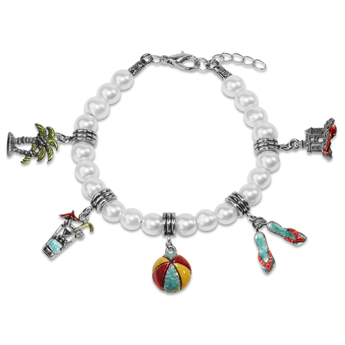 Summer Fun in The Sun Charm Bracelet in Silver