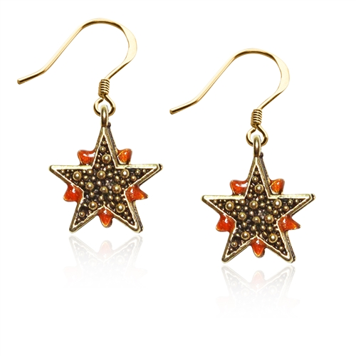 Astrology Granulated Star Charm Earrings in Gold