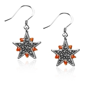 Astrology Granulated Star Charm Earrings in Silver