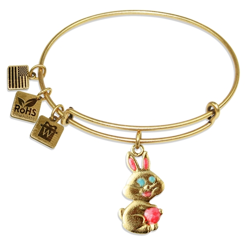 Easter Bunny Charm Bangle in Gold