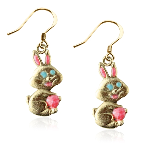 Easter Bunny Charm Earrings in Gold
