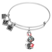 Easter Bunny Charm Bangle in Silver