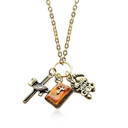 Religious Charm Necklace in Gold