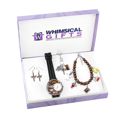 Whimsical Gifts Religious Silver 4-piece Watch-Bracelet-Necklace-Earrings Jewelry Set