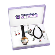 Whimsical Gifts Music Lover Silver 4-piece Watch-Bracelet-Necklace-Earrings Jewelry Set