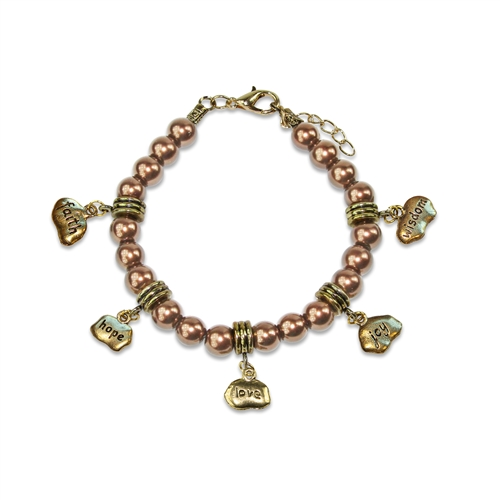 Faith Hope Love Joy Wisdom Charm Bracelet in Gold