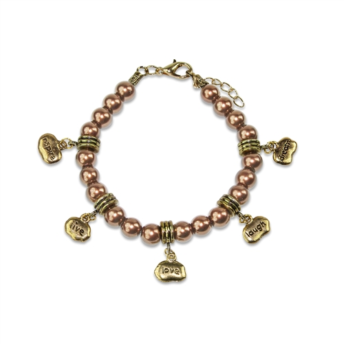 Inspire Live Love Laugh Dream Charm Bracelet in Gold