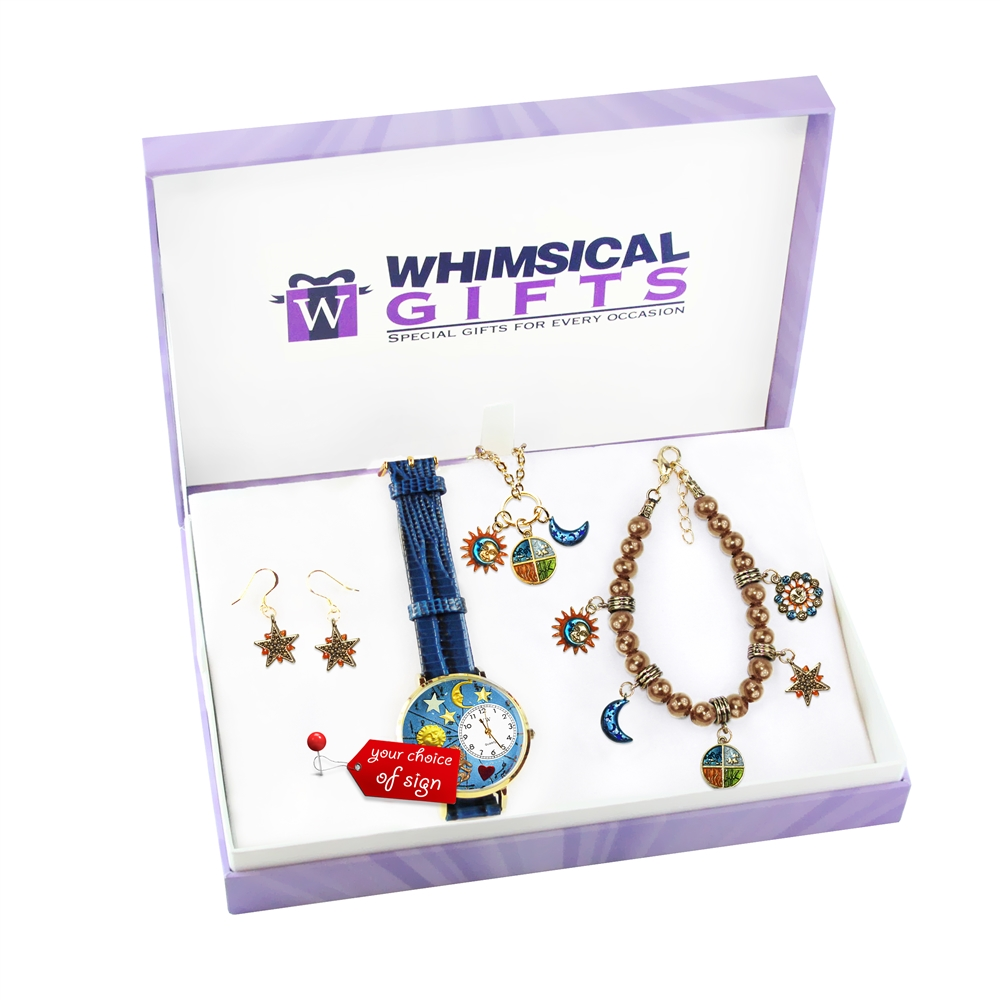 Whimsical Gifts Astrology Gold 4-piece Watch-Bracelet-Necklace-Earrings Jewelry Set