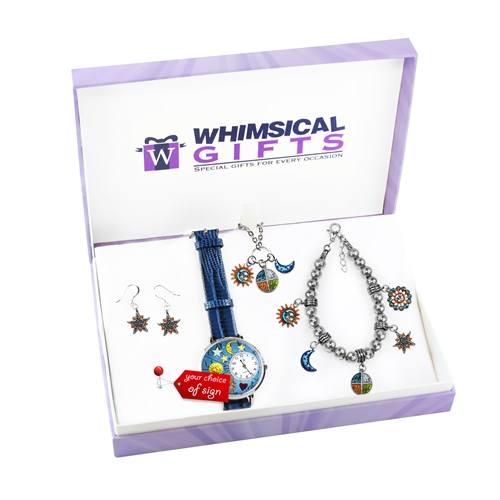 Whimsical Gifts Astrology Silver 4-piece Watch-Bracelet-Necklace-Earrings Jewelry Set