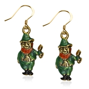 St. Patrick's Leprechaun Charm Earrings in Gold