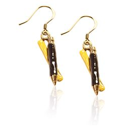 Ruler & Pencil Charm Earrings in Gold
