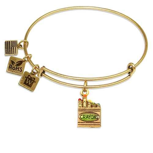 Crayons Charm Bangle in Gold