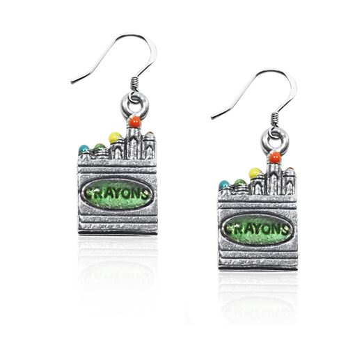 Crayons Charm Earrings in Silver