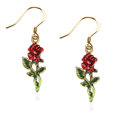 Rose Charm Earrings in Gold