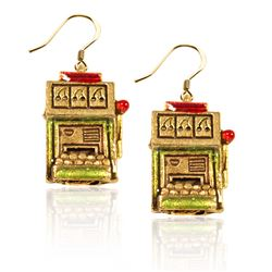 Slot Machine Charm Earrings in Gold