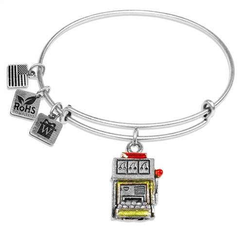 Slot Machine Charm Bangle in Silver