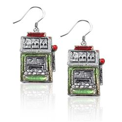 Slot Machine Charm Earrings in Silver