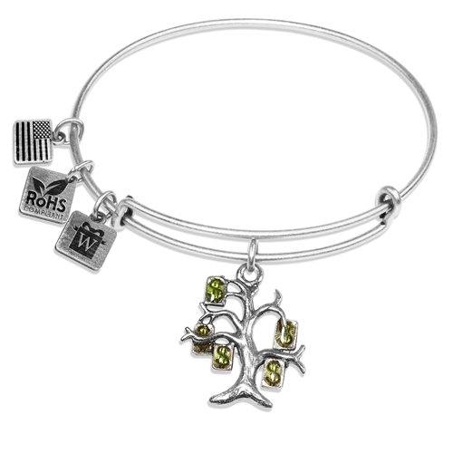 Money Tree Charm Bangle in Silver