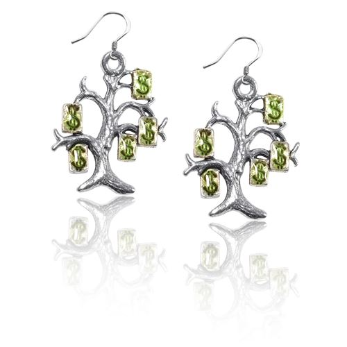 Money Tree Charm Earrings in Silver