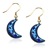 Astrology Moon with Celestial Cut-Outs Charm Earrings in Gold