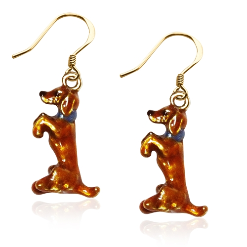 Dachshund Dog Charm Earrings in Gold