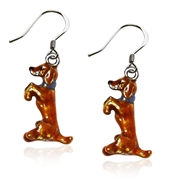 Dachshund Dog Charm Earrings in Silver