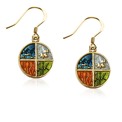 Astrology 4-Elements Charm Earrings in Gold
