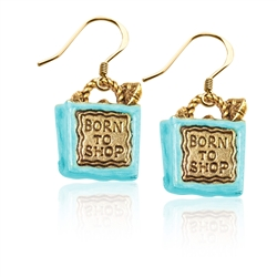 Born to Shop Charm Earrings in Gold