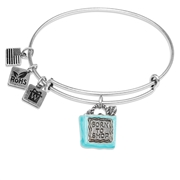 Born to Shop Charm Bangle in Silver