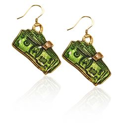 Money Clip with Money Charm Earrings in Gold