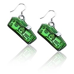 Money Clip with Money Charm Earrings in Silver
