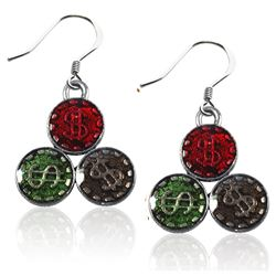 Casino Chips Charm Earrings in Silver