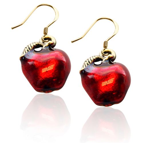 Red Apple Charm Earrings in Gold