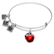 Red Apple Charm Bangle in Silver