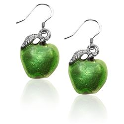 Green Apple Charm Earrings in Silver