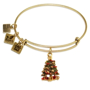 Christmas Tree Charm Bangle in Gold