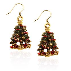 Christmas Tree Charm Earrings in Gold
