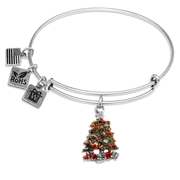 Christmas Tree Charm Bangle in Silver