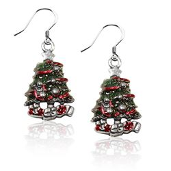 Christmas Tree Charm Earrings in Silver