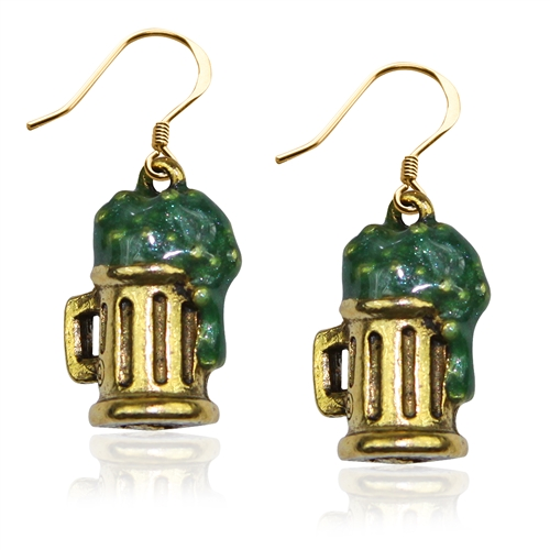 St. Patrick's Beer Mug Charm Earrings in Gold