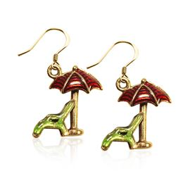 Beach Chair with Umbrella Charm Earrings in Gold