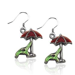 Beach Chair with Umbrella Charm Earrings in Silver