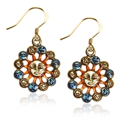 Astrology Sun with Zodiacs Charm Earrings in Gold
