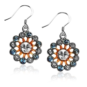 Astrology Sun with Zodiacs Charm Earrings in Silver