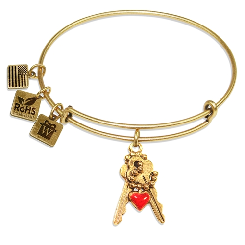 Keys with Heart Charm Bangle in Gold